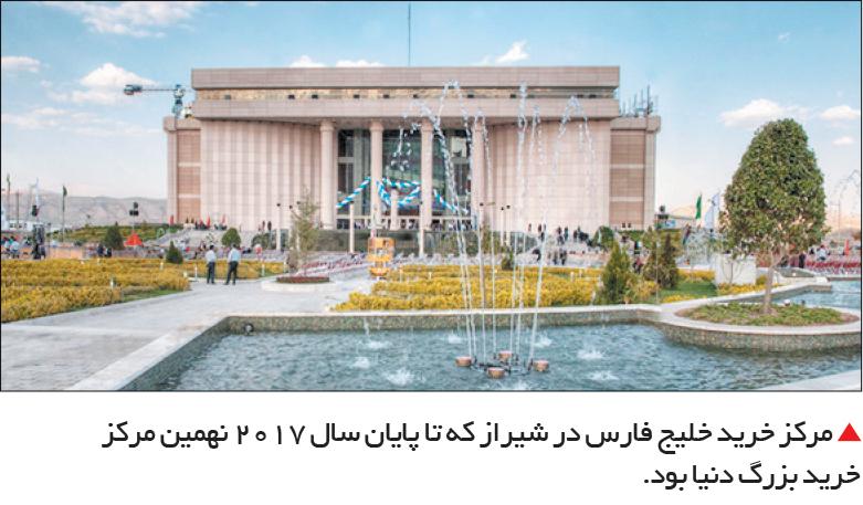 تجارت- فردا-  مرکز خرید خلیج فارس در شیراز که تا پایان سال 2017 نهمین مرکز خرید بزرگ دنیا بود.