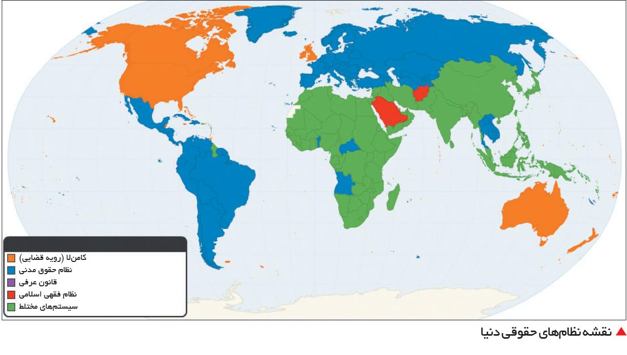 تجارت- فردا-   نقشه نظامهای حقوقی دنیا