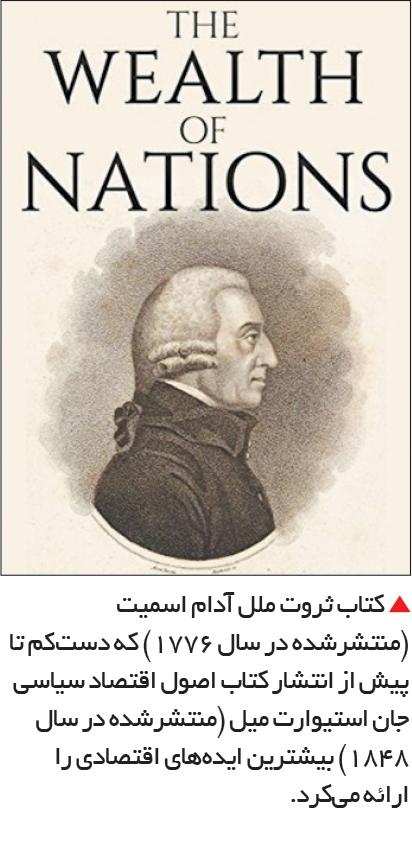 تجارت- فردا-  کتاب ثروت ملل آدام اسمیت (منتشرشده در سال 1776) که دستکم تا پیش از انتشار کتاب اصول اقتصاد سیاسی جان استیوارت میل (منتشرشده در سال 1848) بیشترین ایدههای اقتصادی را ارائه میکرد.