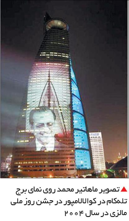 تجارت- فردا-  تصویر ماهاتیر محمد روی نمای برج تلهکام در کوالالامپور در جشن روز ملی مالزی در سال 2004