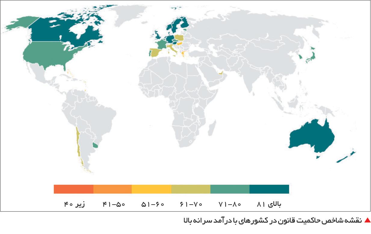 تجارت- فردا- نقشه شاخص حاکمیت قانون در کشورهای با درآمد سرانه بالا
