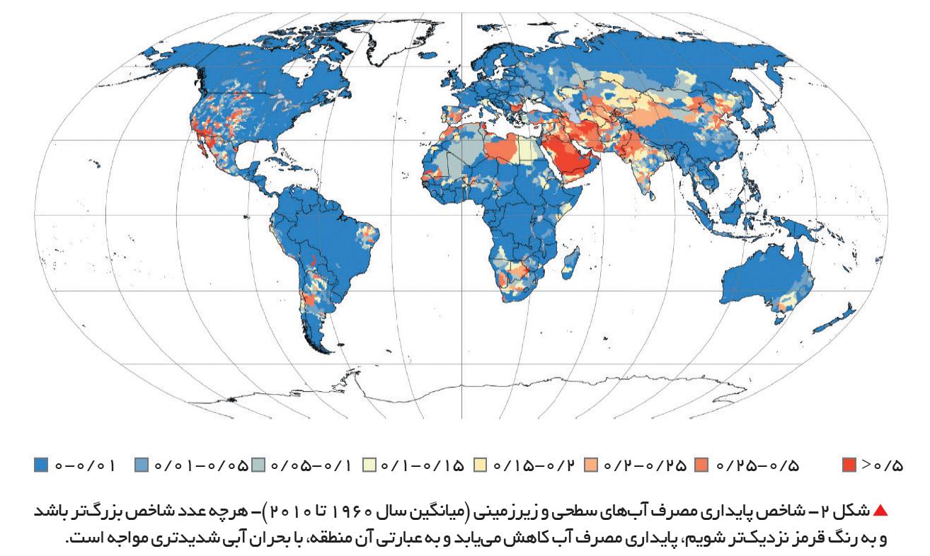تجارت- فردا-  شکل 2- شاخص پایداری مصرف آبهای سطحی و زیرزمینی (میانگین سال 1960 تا 2010)- هرچه عدد شاخص بزرگتر باشد و به رنگ قرمز نزدیکتر شویم، پایداری مصرف آب کاهش مییابد و به عبارتی آن منطقه، با بحران آبی شدیدتری مواجه است.