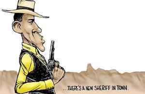 کلانتر اوباما علیه آزادی اسلحه